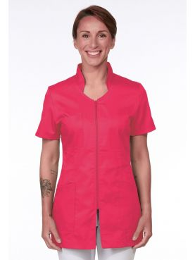 Pink Medical Blouse, Woman, Zipper, Camille Lavandie (2617ROS)