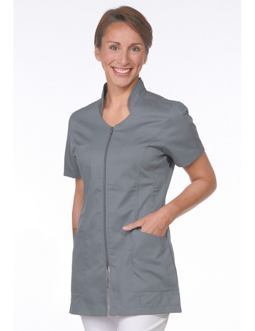 Grey Medical Blouse, Woman, Zipper, Camille Lavandie (2617VGR)