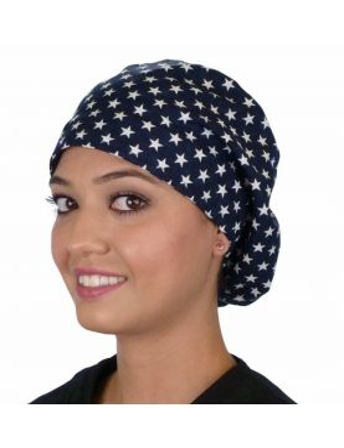 """Calot médical Cheveux Mi-Longs """"Etoiles sur fond bleu marine"""" (218-8463) vue face"""