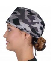 """Calot médical """"Camouflage militaire noir et gris"""" (210-8834) vue coté"""