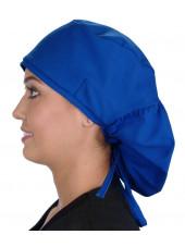 """Calot médical Cheveux Longs """"Bleu royal"""" (815-1037) vue gauche"""