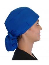 """Calot médical Cheveux Longs """"Bleu royal"""" (815-1037) vue droite"""