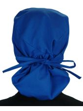 """Calot médical Cheveux Longs """"Bleu royal"""" (815-1037) vue attaché"""