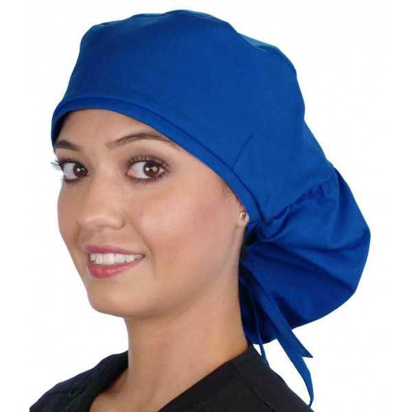 """Calot médical Cheveux Longs """"Bleu royal"""" (815-1037) vue face"""