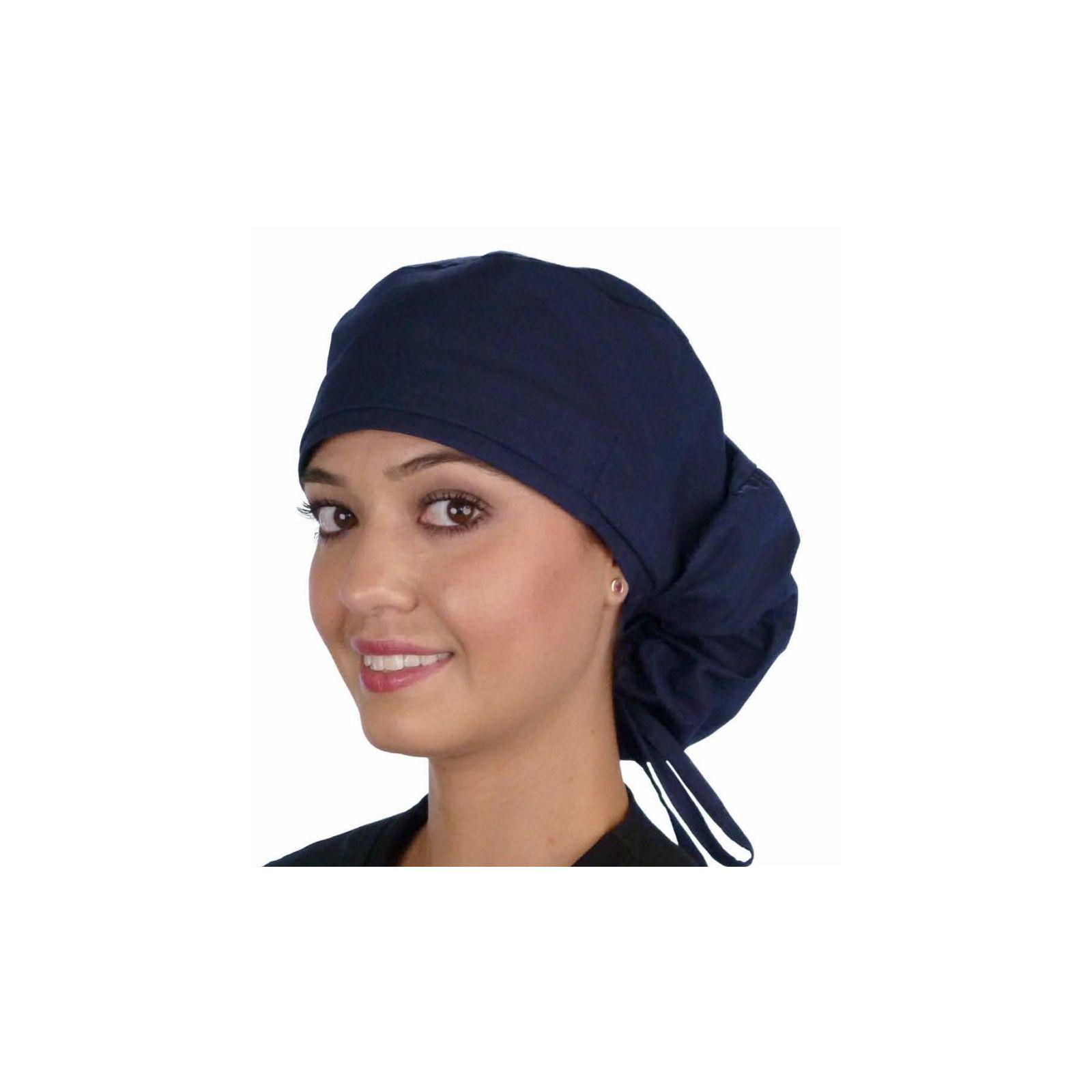 """Calot médical Cheveux Longs """"Bleu Marine"""" (815-1034) vue face"""