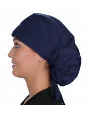 "Calot médical Cheveux Longs ""Bleu Marine"" (815-1034) vue gauche"