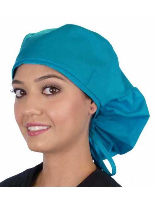 """Calot médical Cheveux Longs """"Turquoise"""" (815-1148) vue face"""