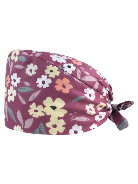 "Medical cap ""Flowers on purple background"" (209-12171)"