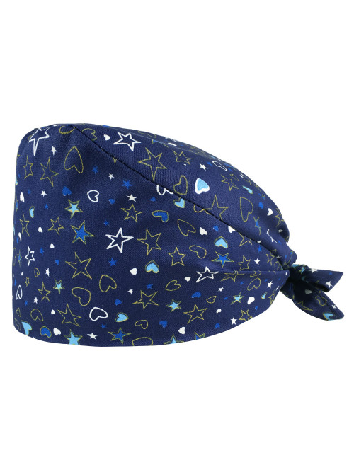 "Medical cap ""Hearts and stars blue background"" (209-12131)"
