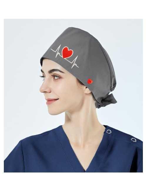 """Calot médical """"Battements coeur fond gris"""" (209-24001) vue modèle"""
