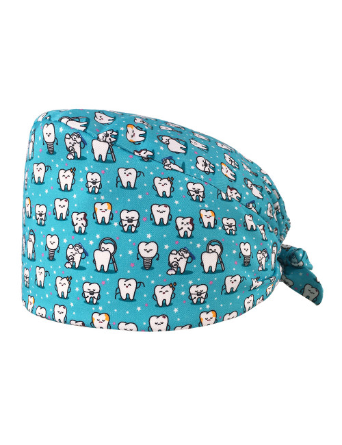 """Medical cap """"Teeth on turquoise background"""" (209-22135)"""