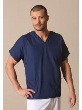 Blouse médicale Homme, 2 poches, Cherokee Workwear Originals (4700) vue modele coté bleu marine