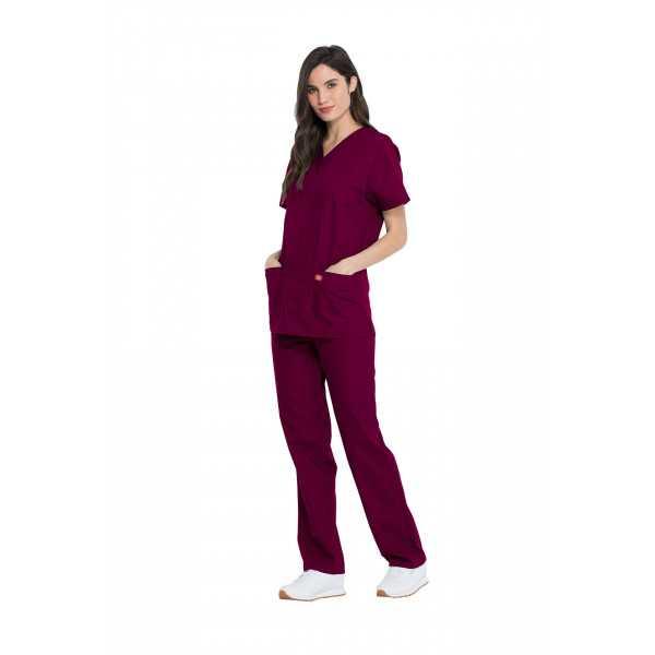 Ensemble médical Blouse et Pantalon, Unisexe, Dickies (DKP520C) femme droite bordeaux