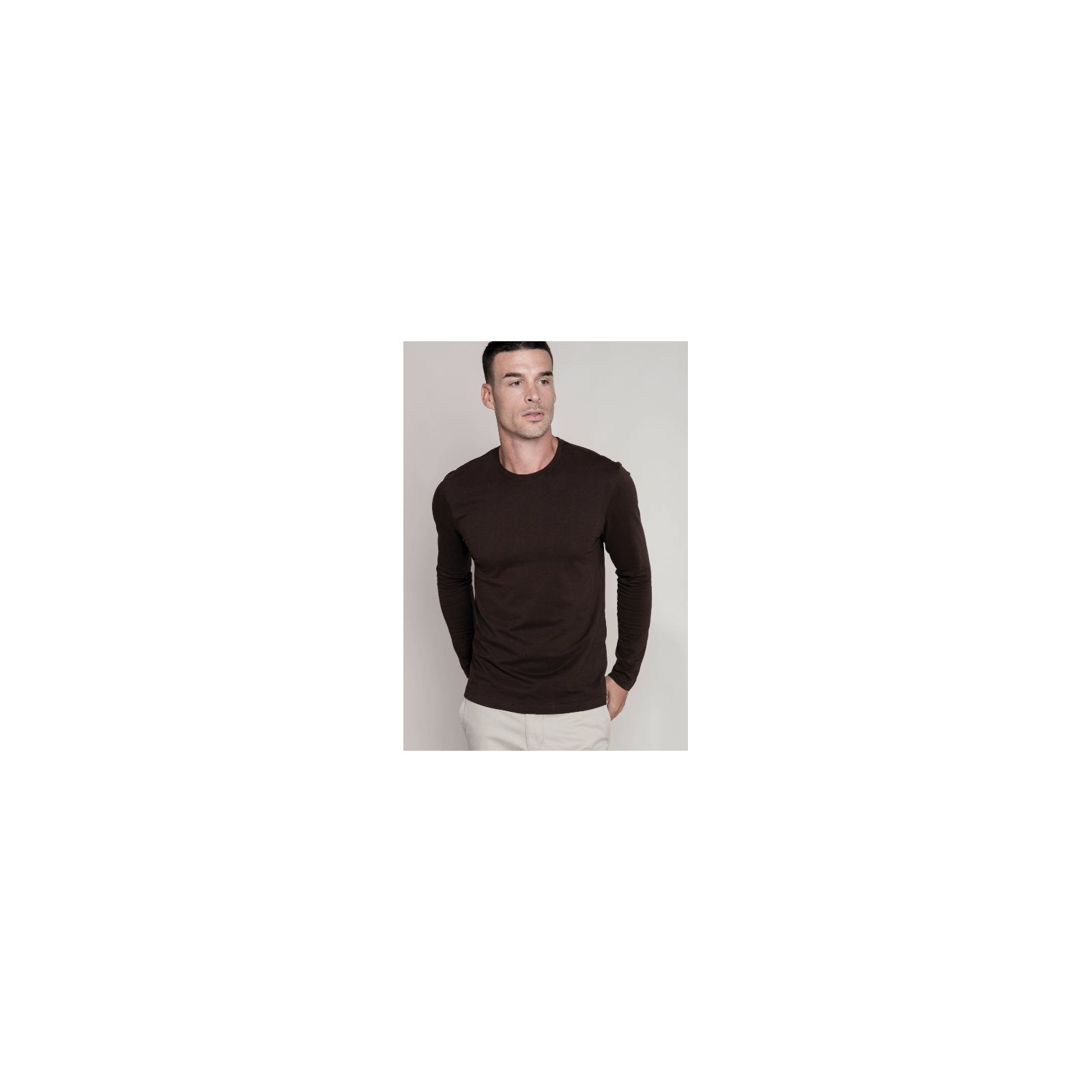 T-shirt col rond manches longues Unisexe (K359) vue modele noir