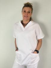 Blouse médicale blanche Unisexe, 3 poches, Lavage 60 degrés (CH12) vue femme