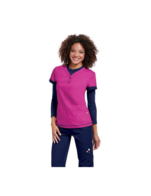 "Blouse médicale Femme ""Monterey"", Koi collection Orange (G3106) fuschia"