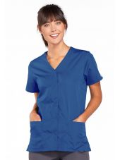 Blouse médicale Femme boutons pression, Cherokee Workwear Originals (4770) bleu galaxi vue face