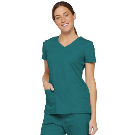 """Blouse médicale Col V Femme, Dickies, 2 poches, Collection """"EDS signature"""" (85906) teal blue"""