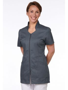 Medical Blouse Grey Anthracite, Woman, Zipper, Camille Lavandie (2617VGR)