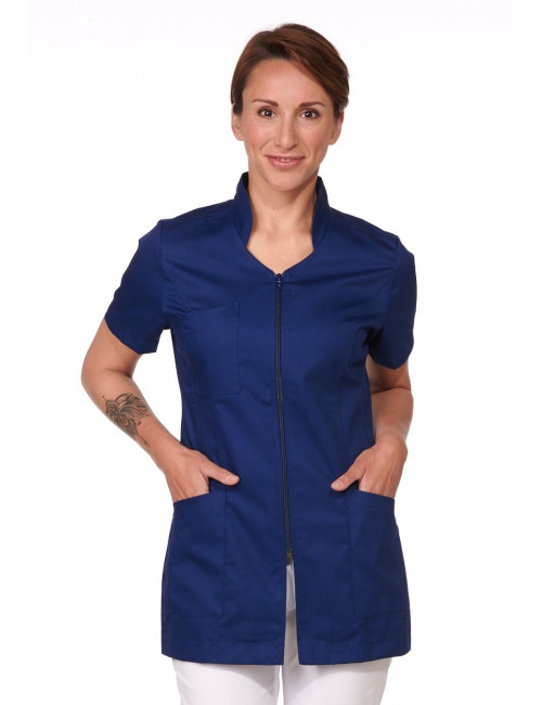 Navy Blue Medical Blouse, Woman, Zipper, Camille Lavandie (2617COM)