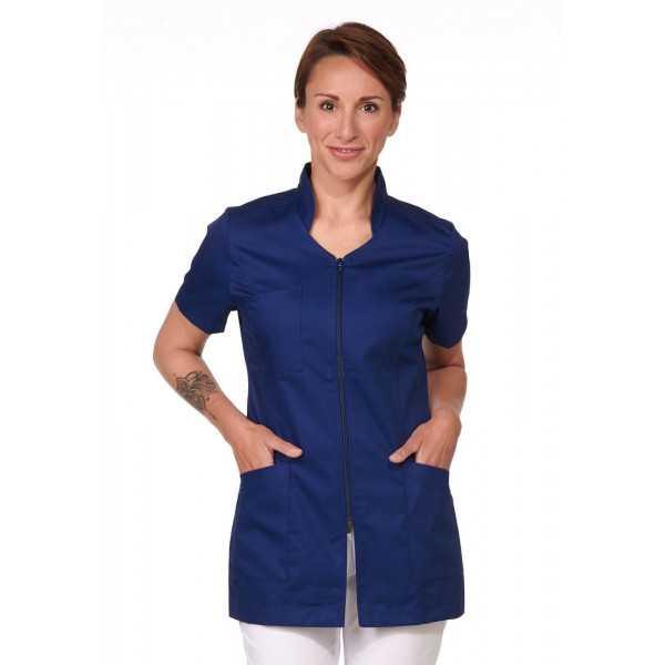 Blouse Médicale Bleu marine, Femme, Fermeture éclair, Camille Lavandie (2617COM) face