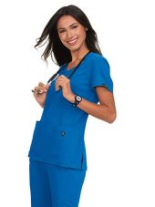 """Tunique médicale femme Koi """"Katie"""", collection """"Koi basics"""" (374-) couleur bleu royal vue coté"""