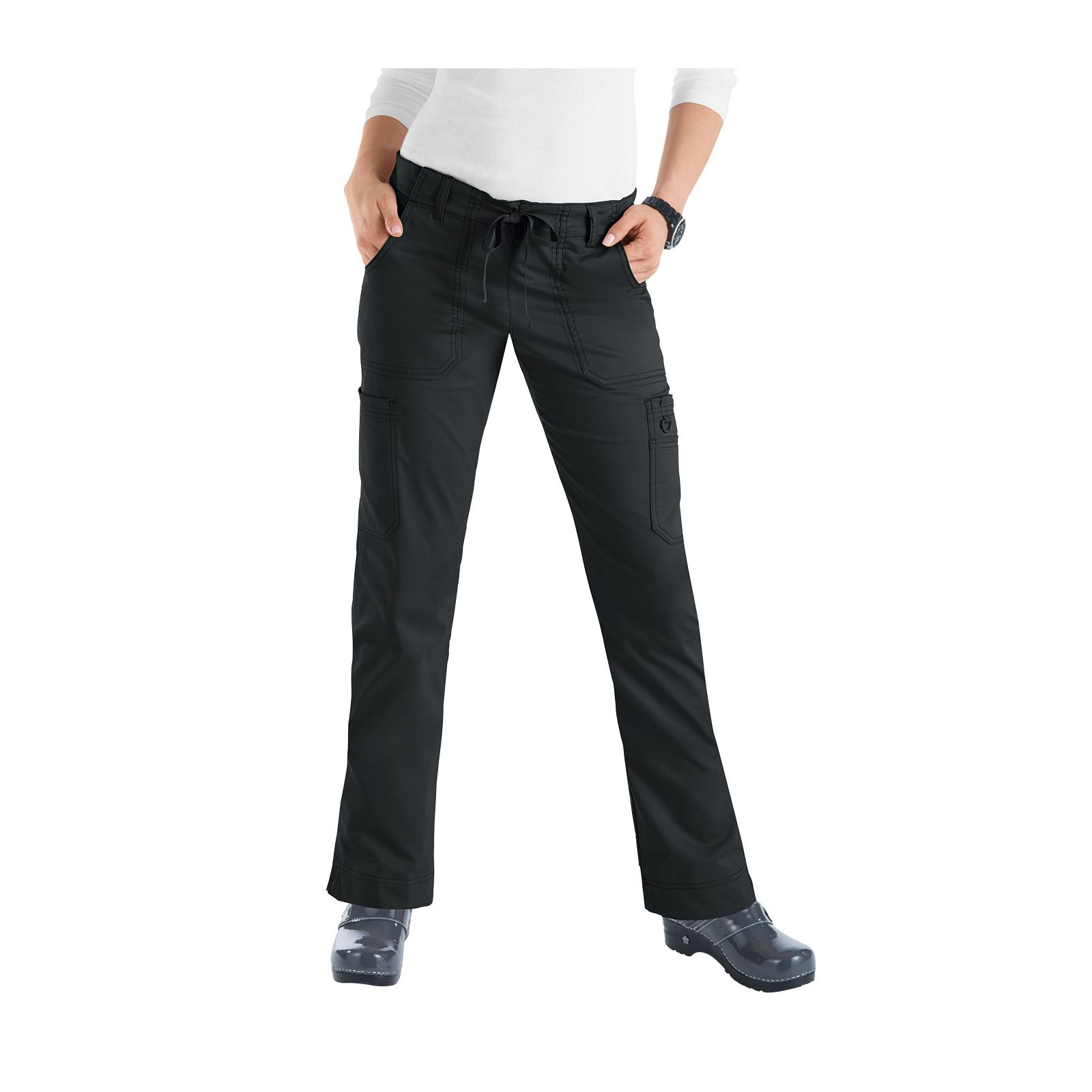 "Pantalon médical Femme Koi ""Lindsey"", collection ""Koi Stretch"" (710-) noir face"