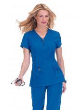 "Blouse médicale Femme Koi ""Mackenzie"", collection ""Koi Stretch"" (204-) bleu royal face"