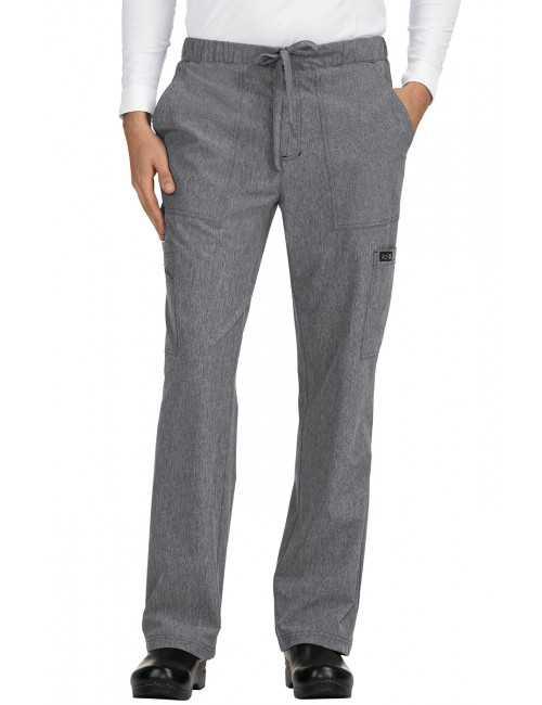 "Pantalon médical Homme Koi ""Luke"", collection ""Koi Basics"" (605-) gris chiné face"