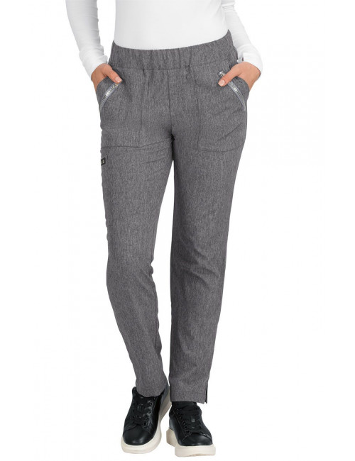 "Pantalon médical Femme Koi ""Jane"", collection ""Koi Basics"" (737-) gris chiné face"