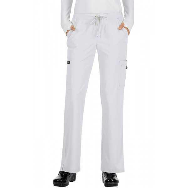"""Pantalon médical Femme Koi """"Holly"""", collection """"Koi Basics"""" (731-) blanc face"""