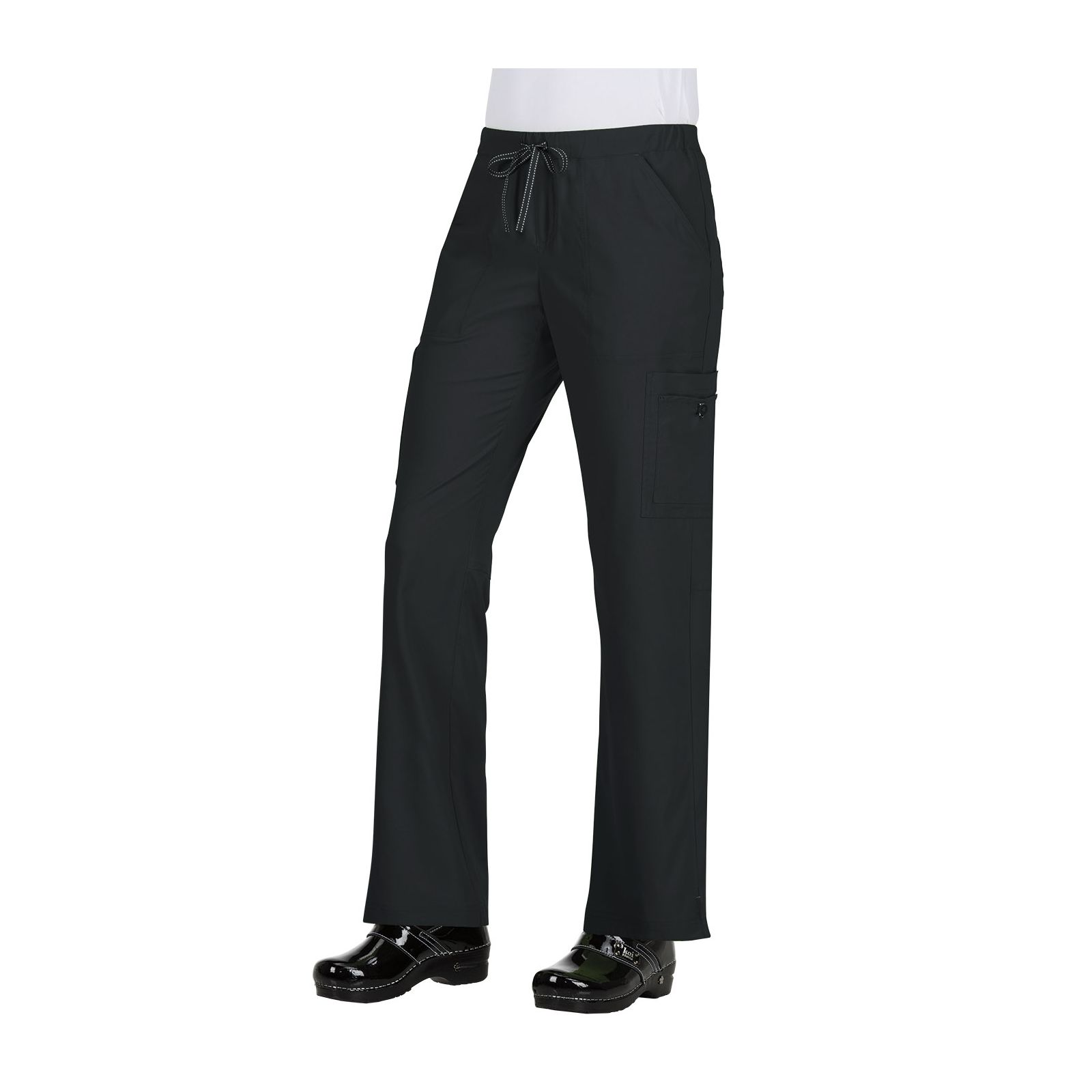 "Pantalon médical Femme Koi ""Holly"", collection ""Koi Basics"" (731-) noir face"