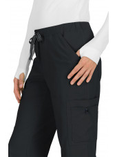 "Pantalon médical Femme Koi ""Holly"", collection ""Koi Basics"" (731-) noir détail"