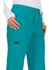 "Pantalon médical Femme Koi ""Holly"", collection ""Koi Basics"" (731-) turquoise détail"