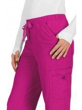 "Pantalon médical Femme Koi ""Holly"", collection ""Koi Basics"" (731-) fuchsia détail"