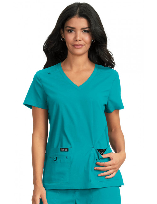 "Blouse médicale Femme Koi ""Becca"", collection ""Koi Basics"" (373-) teal blue vue face"