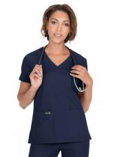 "Blouse médicale Femme Koi ""Becca"", collection ""Koi Basics"" (373-) bleu marine vue face"