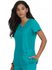 "Blouse médicale Femme ""Katie"" Koi, collection ""Koi Basics"" (374-) teal blue vue face"