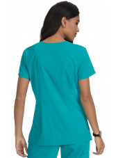 "Blouse médicale Femme ""Katie"" Koi, collection ""Koi Basics"" (374-) teal blue vue dos"