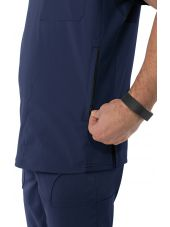 """Blouse médicale Homme Koi """"Force"""", collection """"Koi Lite"""" (667-) bleu marine vue détail"""