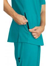 "Blouse médicale Homme Koi ""Force"", collection ""Koi Lite"" (667-) teal blue poche"