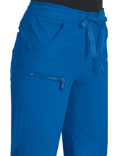"Pantalon médical Femme Koi ""Peace"", collection ""Koi Lite"" (721-) bleu royal détail"