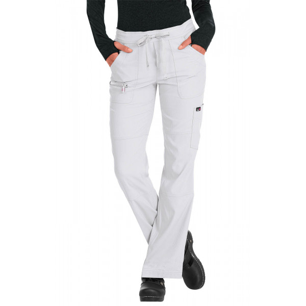 "Pantalon médical Femme Koi ""Peace"", collection ""Koi Lite"" (721-) blanc face"