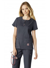 "Blouse médicale Femme Koi ""Serenity"", collection Koi Lite (317-) gris anthracite vue face"