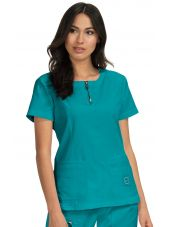 "Blouse médicale Femme Koi ""Serenity"", collection Koi Lite (317-) teal blue vue face"