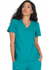 "Blouse médicale Femme Koi ""Philosophy"", collection ""Koi Lite"" (316-) teal blue face"