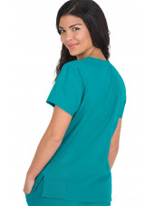 "Blouse médicale Femme Koi ""Philosophy"", collection ""Koi Lite"" (316-) teal blue dos"