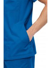 """Blouse médicale Homme Koi """"Jason"""", collection """"Koi Classics"""" (654) bleu royal vue détail"""