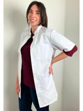 Blouse médicale blanche boutons pression, Femme, Lavage 60 degrés (CH14) vue gauche