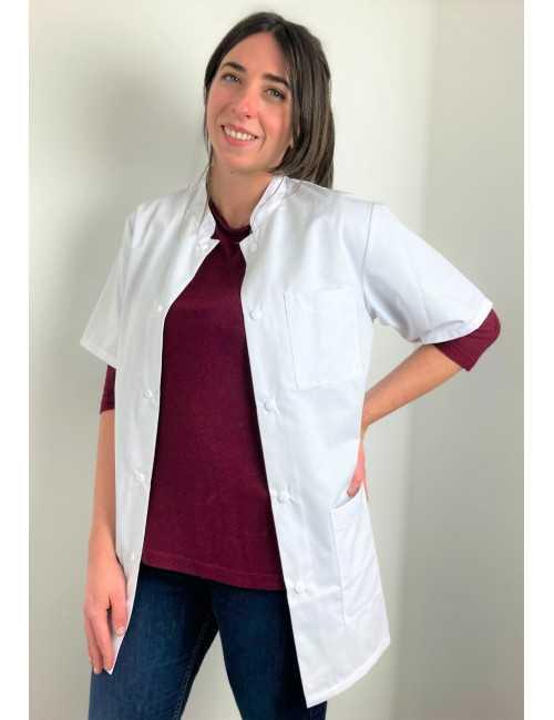 Blouse médicale blanche boutons pression, Femme, Lavage 60 degrés (CH14)